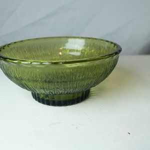 Vintage 1970s Green Glass Candy Dish